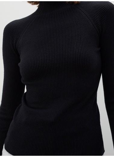 Join Us Dikişsiz Whole Garment Ribana Yarım Balıkçı Yaka Triko Kazak Siyah